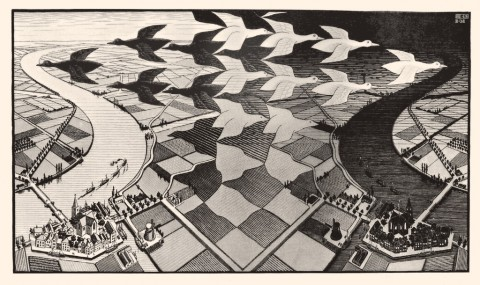 Maurits Cornelis Escher - Giorno e notte, 1938. Xilografia.Baarn, M.C. Escher Foundation © 2014 The M.C. Escher Company. All rights reserved