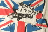 Jamie Reid, Anarchy in the UK Muslin Flag, 1976, screenprint on muslin, mm 700x900 Jamie Reid copyright Sex Pistols Residuals, courtesy Isis Gallery, UK