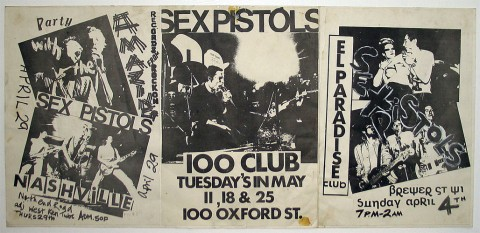 Jamie Reid, El Paradise/Nashville/100 Club, Flyer Collage, 1976, photoprint (with gouache tip-in) collage on paper, mm 300x645 - Jamie Reid copyright Sex Pistols Residuals, courtesy Isis Gallery, UK