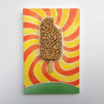 Kenny Pittock, Golden Gaytime - acrylic, kiln fired ceramic and wooden ice-cream stick on board