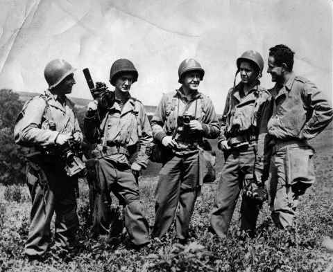 Signal Corps Photo _ They fight with cameras. France. June 27, 1944