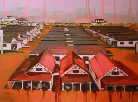 Lisa O'Donnell, Breezy Point, 2014, oil on board, cm 48x36