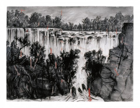 William Kentridge, Colonial Landscape (Falls Looking Upstream), obra inédita en Brasil, 1996, carbón y pastel sobre papel, 135,9 x 175,5 cm. Gordon Schachat Colletion. Cortesía: William Kentridge