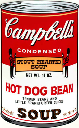 Andy Warhol, Campbell's Soup Hot Dog Bean, serigrafia su carta, 90 x 60 cm. Collezione privata