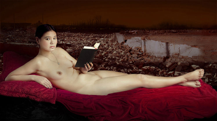 Gao Yuan, A woman with book, A woman with, 115x170 cm, fotografia digitale, C print su tela, 2011