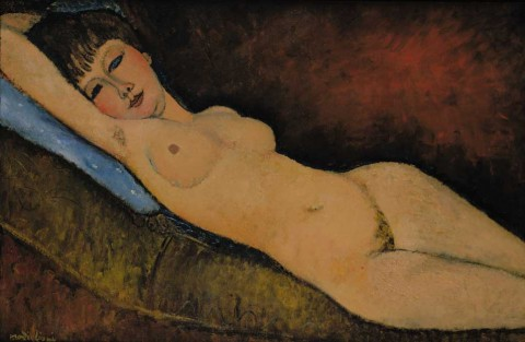Amedeo Modigliani - Nudo disteso con cuscino blu