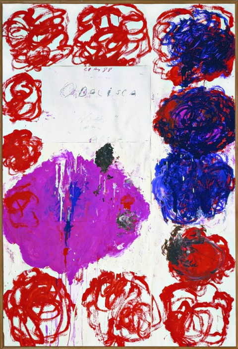 Cy Twombly, Untitled (Odalisca), 1988 Collage, acrilico, pittura murale, pastello a cera e pennarello su carta/ Collage, acrylic, house paint, wax crayon, and felt-tip pen on paper 220 x 150 cm Cy Twombly Foundation