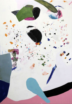 Caterina Silva, Not yet titled, 2015, oil and oil fragments on linen, 200 x 140 cm, courtesy galleria Riccardo Crespi and the artist