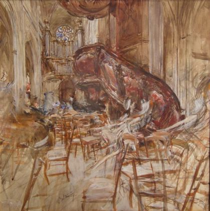 Giovanni Boldini, Cattedrale di Bordeaux con figure in movimento, 1913-14, Coll privata
