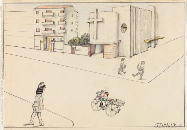 Milano Via Pascoli in 1936 from Memory, 1970 - The New Yorker, October 7, 1974 - © The Saul Steinberg Foundation-ARS, NY