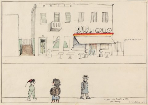 Milano Via Pascoli in 1936 from Memory, 1970 - Originally published in The New Yorker, October 7, 1974 - © The Saul Steinberg Foundation-ARS, NY