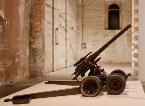 Pino Pascali, Cannone Semovente (Gun), 1965. Photo by Alessandra Chemollo, courtesy of la Biennale di Venezia