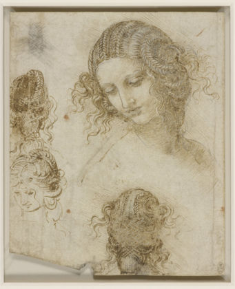 Leonardo da Vinci, Studi di testa femminile (1505-1507) - The Royal Collection, HM Queen Elizabeth II