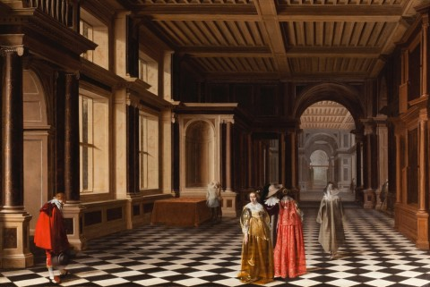 Pieter W. van der Stock & Willem C. Duyster, Figure eleganti in una galleria con colonnato classico, 1632 - Courtesy Rafael Valls ltd, London