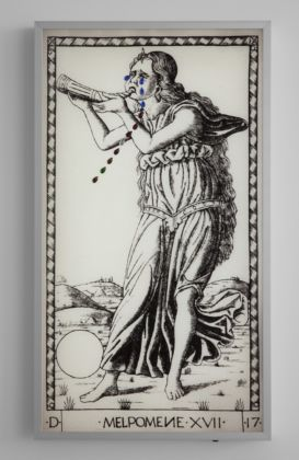Francesco Vezzoli, Metamorfosi: The Crying Muses (After Mantegna's Tarot Cards), 2015, LED light-boxes, rhinestones, 9 pieces, each 100 x 55 x 8 cm, Courtesy the artist and Galleria Franco Noero, Torino