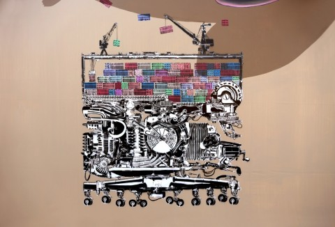 NEVERCREW, Compelling machine n. 1 (particolare) - City Canvas, Amburgo, settembre 2014