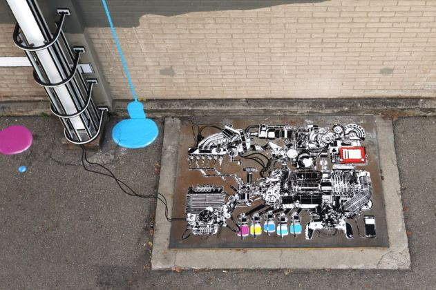 NEVERCREW, Interpretive machine n. 1 (particolare) - Urban Art Festival, Winterthur, settembre 2014