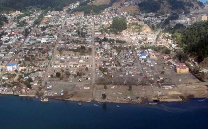 Aerial view of Constitución after 2010 Earthquake & Tsunami (destruction)