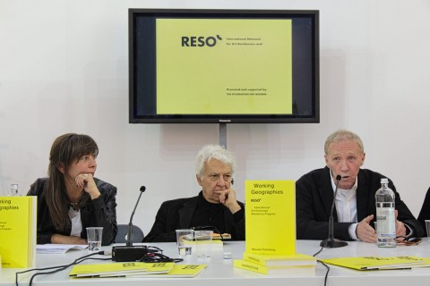 Artissima 2015, presentazione del volume Working Geographies. RESÒ International Art Exchange Residency Program, Mousse Publishing - da sx Lisa Parola, Fulvio Gianaria, William Wells – photo Matteo Nobili