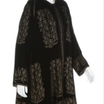 A good Mariano Fortuny stencilled black velvet evening coat, 1920-30
