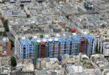 Parigi, il Centre Pompidou visto dall'alto