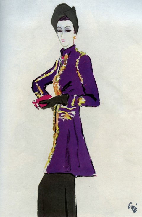 Elsa Schiaparelli, Persian tunic by Eric - Vogue, 13 ottobre 1937 -courtesy Kerry Taylor Auctions