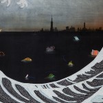 Hema Upadhyay - The Wave; printed text, gouache, pastels and acrylic on handmade paper (48x72 inches)