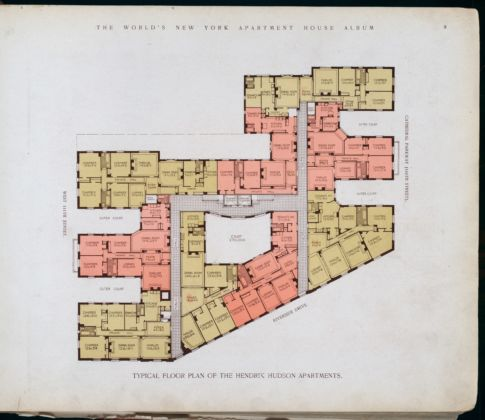 New York Public Library - Digital Collections, Typical floor plan of the Hendrik Hudson Apartments, 1910