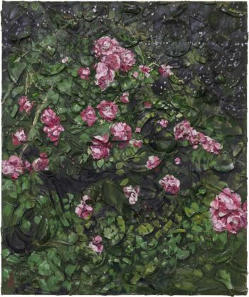 Julian Schnabel, Rose Painting (Near Van Gogh's Grave) VII, 2015, oil, plates, and bondo on wood, 182,88 x 152,4 x 30,48 cm