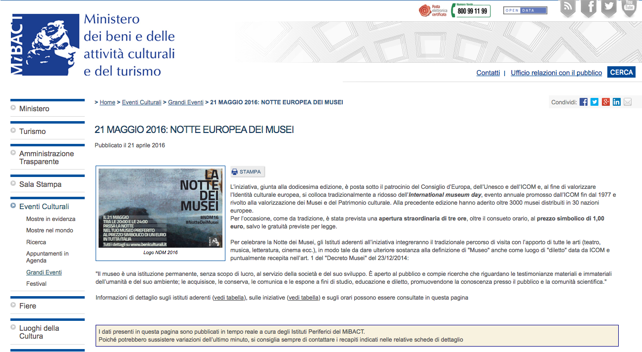 Torna la notte dei musei artribune for Del website