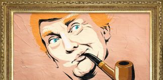 Trump come un quadro di Magritte - un'opera di Butcher Billy