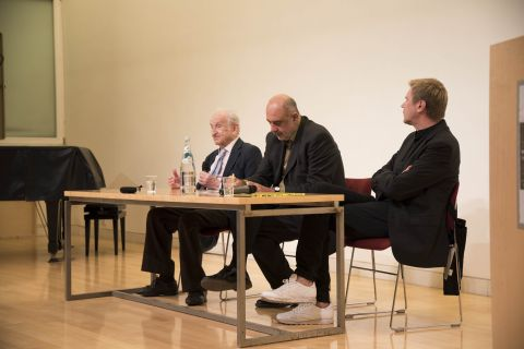 Miroslaw Balka e Joseph Rykwert alla British School at Rome – photo Antonio Palmieri