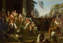 George Caleb Bingham, The Verdict of the People (1854–55), courtesy Saint Louis Art Museum
