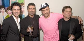 Filippo Tattoni-Marcozzi, George Michael, David LaChapelle e Kenny Goss all'opening della Goss Gallery a Dallas nel 2005