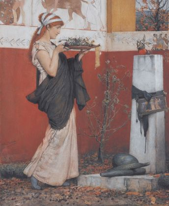 Lawrence Alma-Tadema, A Votive Offering, 1873 (acquerello su carta, 47,3 x 39,4 cm), Lady Lever Art Gallery, National Museums Liverpool ©Courtesy of National Museums Liverpool, Lady Lever Art Gallery