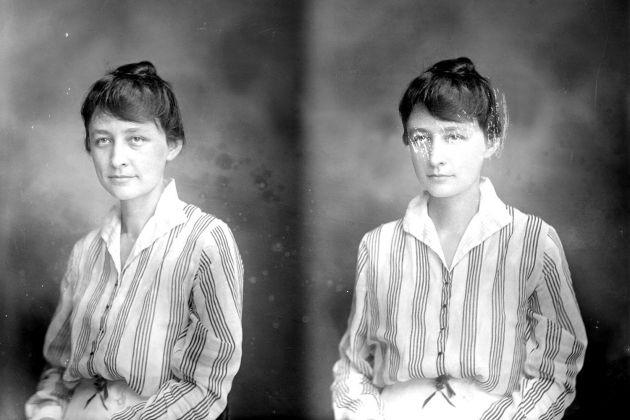 Georgia O'Keeffe shown in photographs taken in Charlottesville in 1915 by Rufus Holsinger (Image courtesy Albert & Shirley Small Special Collections Library)