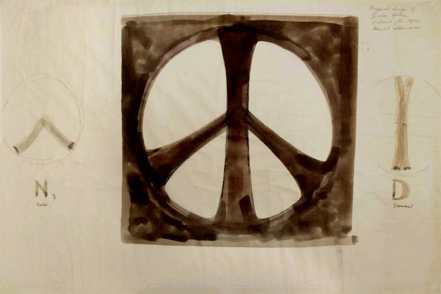 Sketch of nuclear disarmament symbol, by Gerald Holtom. Copyright- Commonweal Collection
