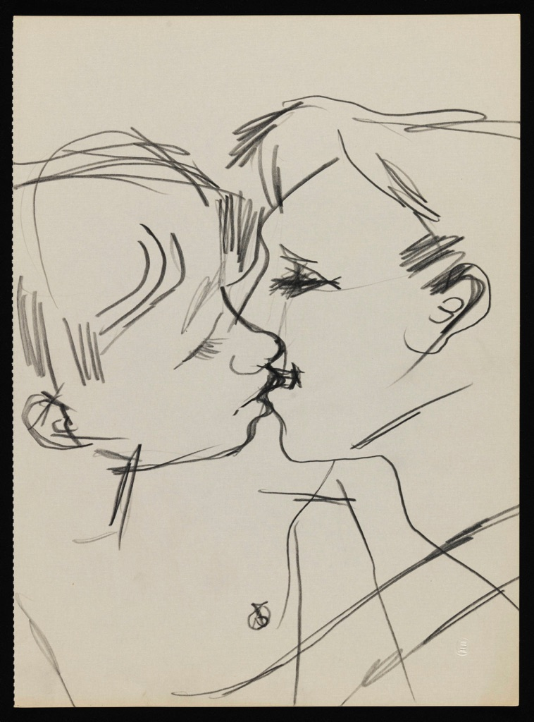 Keith Vaughan, Drawing of Two Men Kissing, 1958–73. Tate Archive © DACS, The Estate of Keith Vaughan. Courtesy Tate