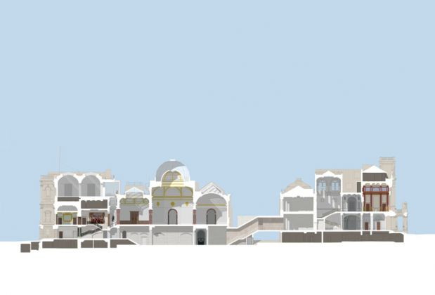 Cross-section of the Royal Academy's site in 2018 © David Chipperfield Architects