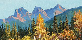 Andrew Kiss Three sisters' Canmore. Olio su tela 2015