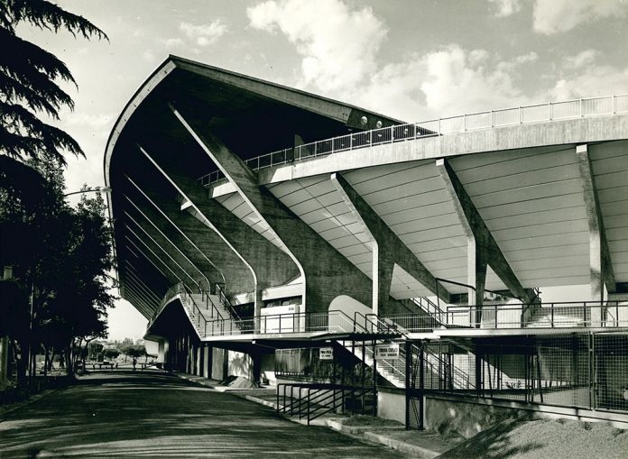 Stadio Flaminio (Pier Luigi Nervi e Antonio Nervi, 1959), Roma, Italia. Photo Oscar Savio. Courtesy Pier Luigi Nervi Project Association, Brussels