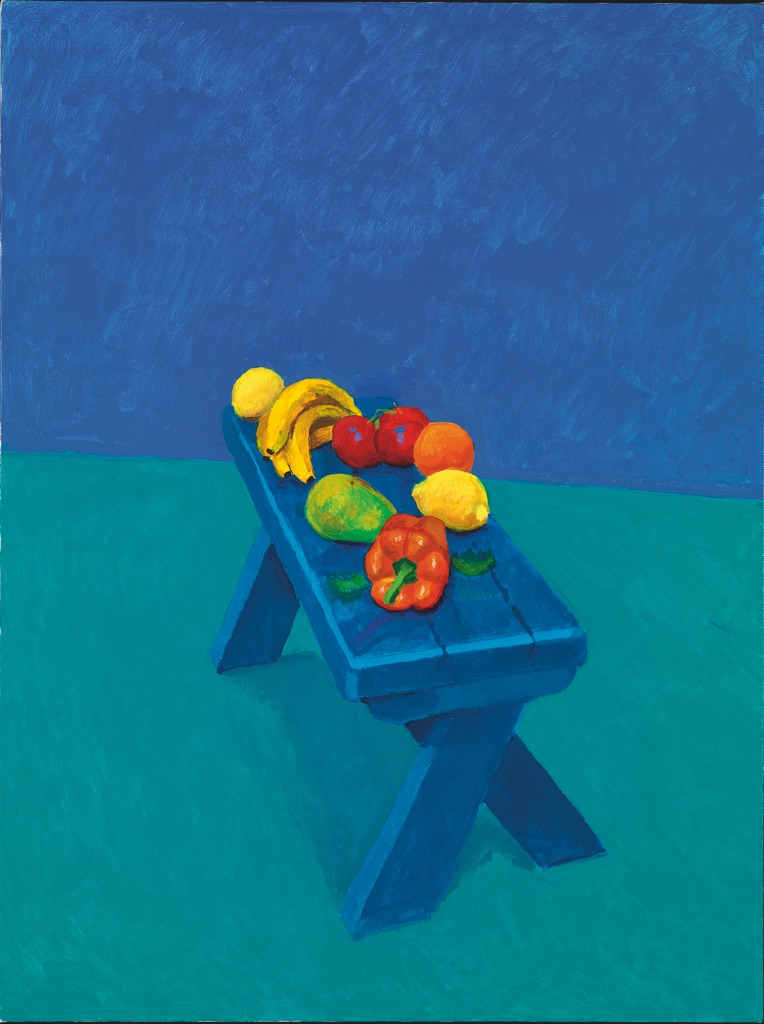 David Hockney, Fruit on a Bench, 6th, 7th, 8th March 2014, acrilico su tela, 121,9 x 91,4 cm © David Hockney, photo credit Richard Schmidt