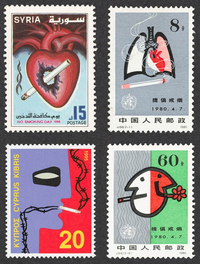 Selection of anti smoking stamps from around the world