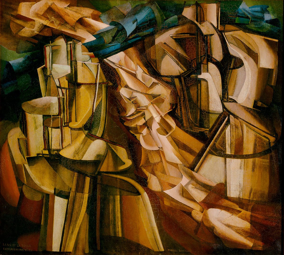 Marcel Duchamp, The King and Queen Surrounded by Swift Nudes, 1912. Oil on canvas. 114.6 x 128.9 cm. Philadelphia Museum of Art, The Louise and Walter Arensberg Collection, 1950-134-63a © Succession Marcel Duchamp/ADAGP, Paris and DACS, London 2017.