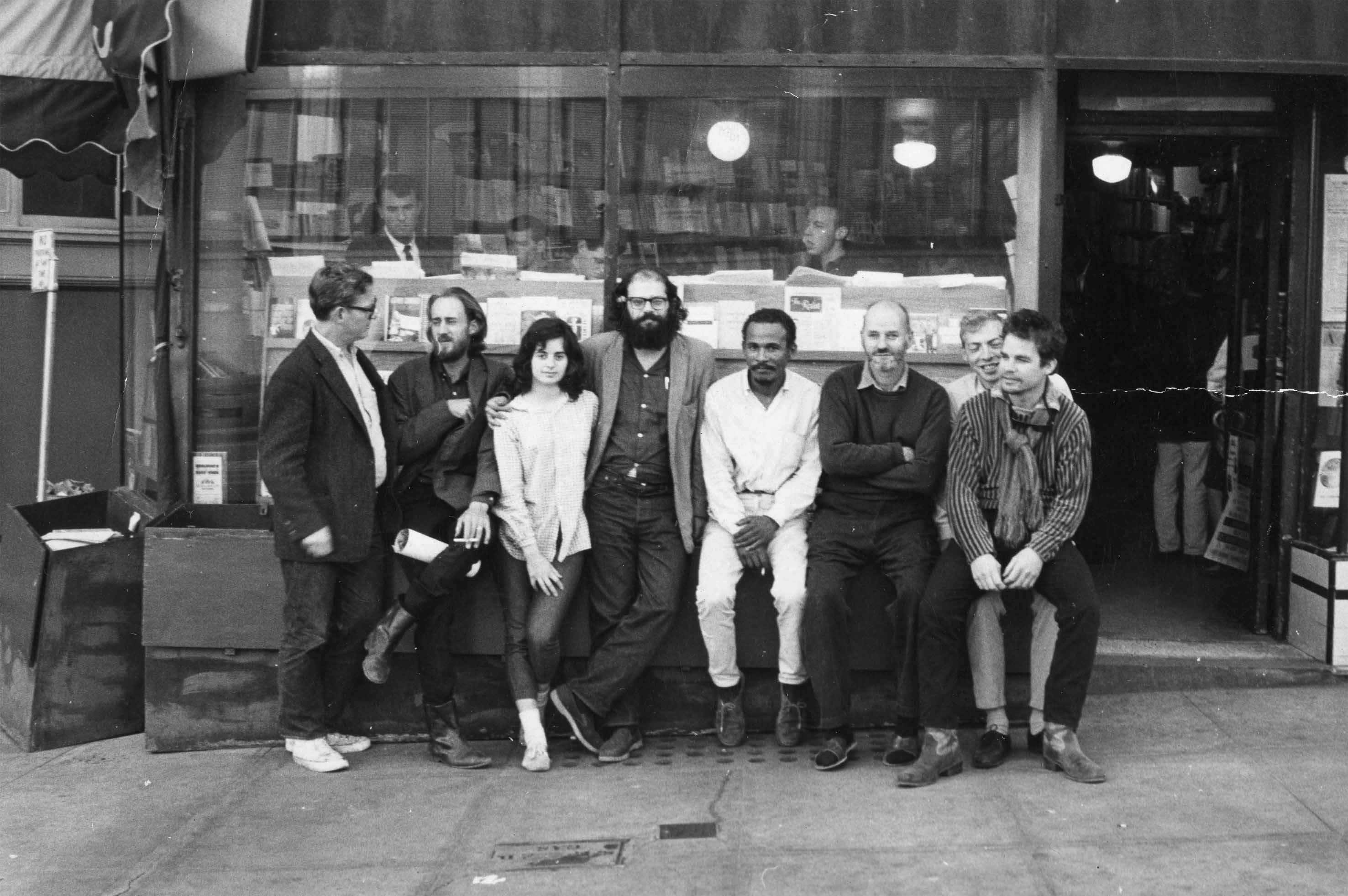 Allen Ginsberg, Lawrence Ferlinghetti & friends at City Lights Bookstore, 1963. Courtesy City Lights