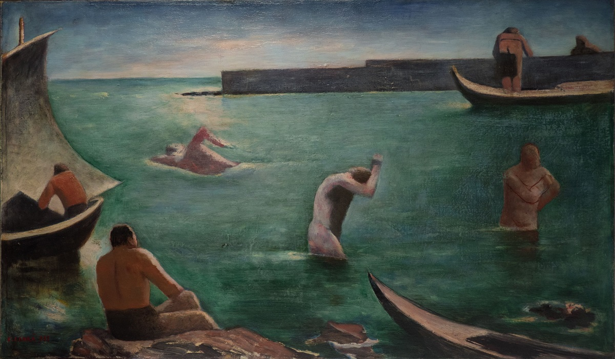 Carlo Carrà, I Nuotatori, 1932. Oil on canvas, 63,5 x 108,5 cm. Augusto e Francesca Giovanardi Collection