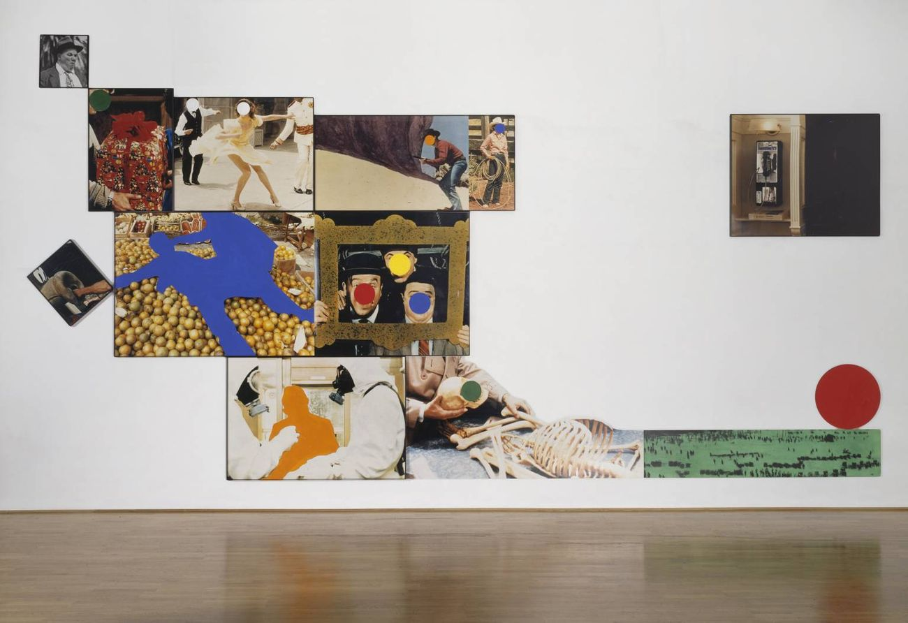 John Baldessari, Hope (Blue) Supported by a Bed of Oranges (Life)_Amid a Context of Allusions, 1991