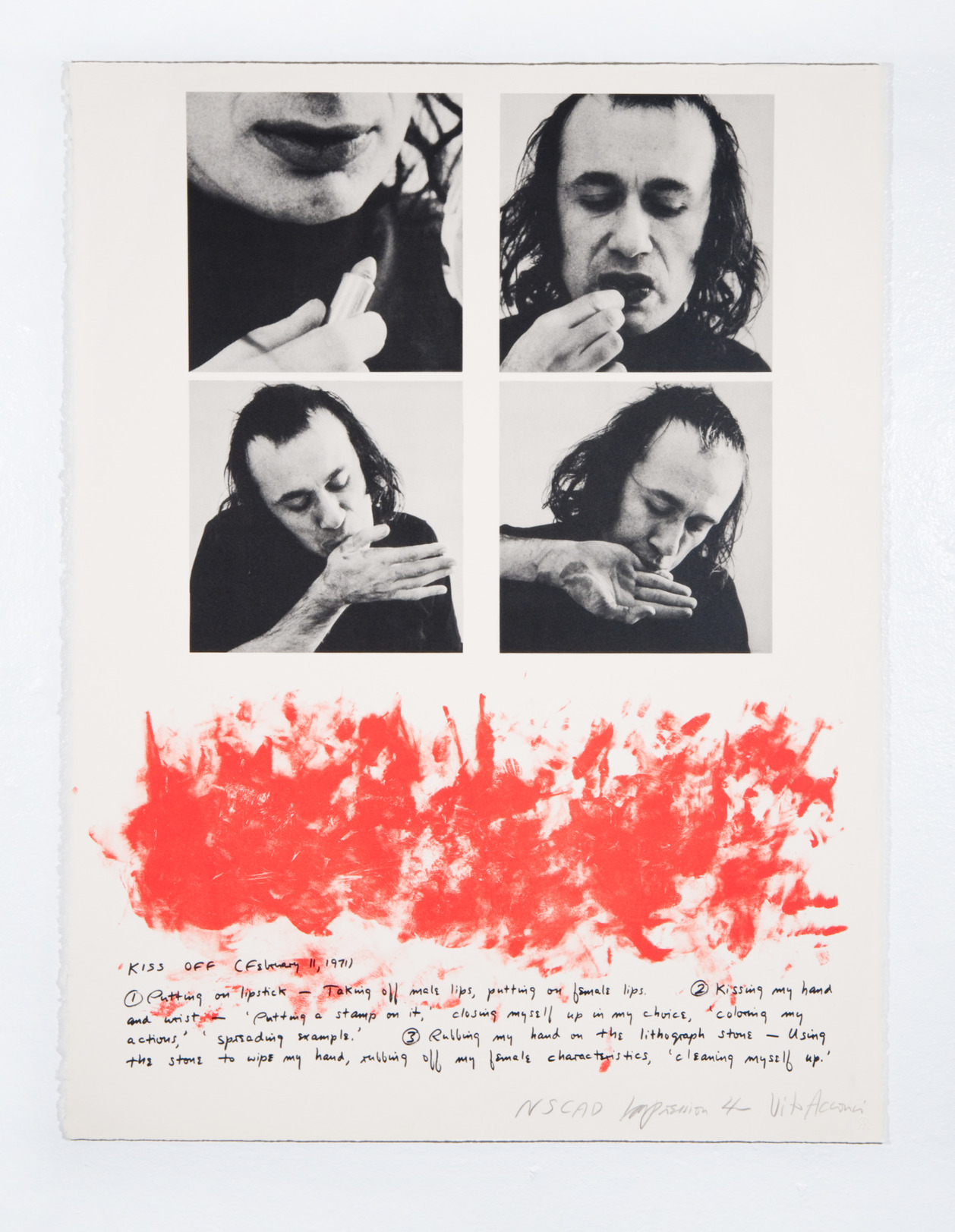 Vito Acconci, Kiss Off, 1971