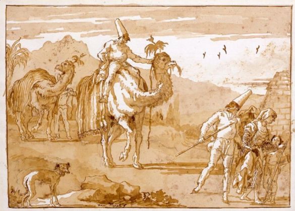 Domenico Tiepolo, Punchinello Riding a Camel, Late 1790's ©J. Paul Getty Trust