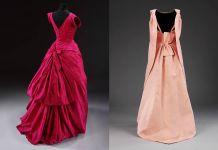 Evening dress, silk taffeta, Cristóbal Balenciaga, Paris, 1955 _ 'La Tulipe' evening dress, gazar, Balenciaga for EISA, Spain, 1965 both © Victoria and Albert Museum, London